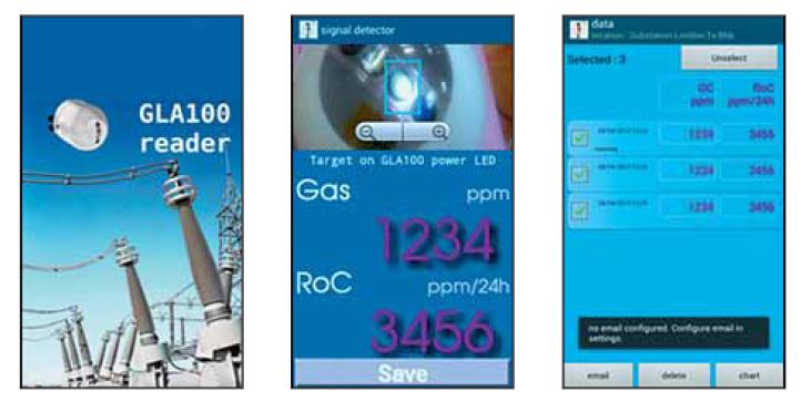 GLA 100 снабжен специальным приложение, раз- работанным на платформе Android. Приложение позволяет быстро получить данные о содержа- нии газов H2 и СO с датчика в ppm.