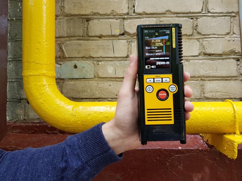Детектор метана в работе