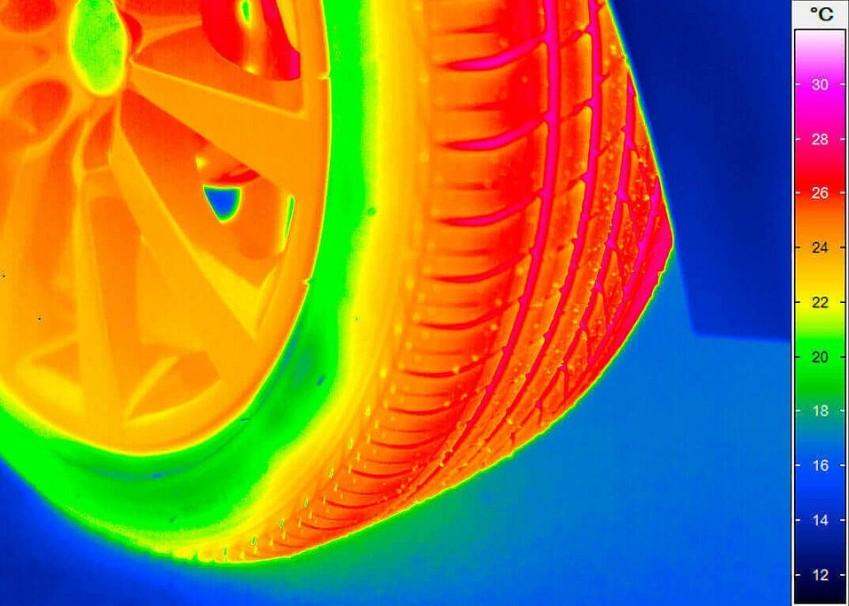 Термограмма автомобильного колеса